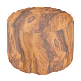 Brown Faux Wood Pouf