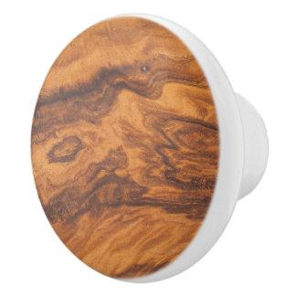 Brown Faux Wood Print Ceramic Knob