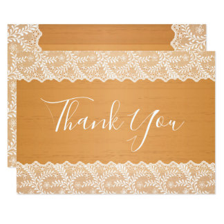 Brown Faux Wood White Lace Thank You Card