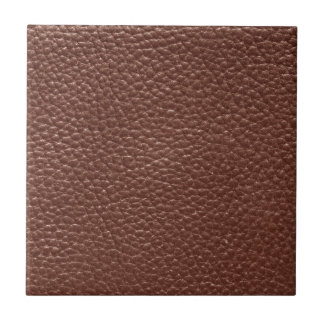 Brown Faux Worn Leather Small Square Tile