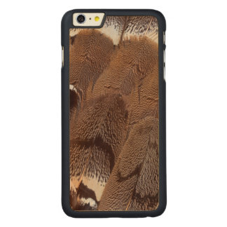 Brown Feather Design Carved Maple iPhone 6 Plus Case