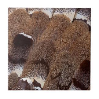 Brown Feather Design Ceramic Tile
