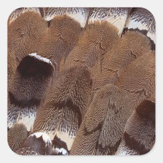 Brown Feather Design Square Sticker