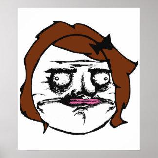 Brown Female Me Gusta Comic Rage Face Meme Poster