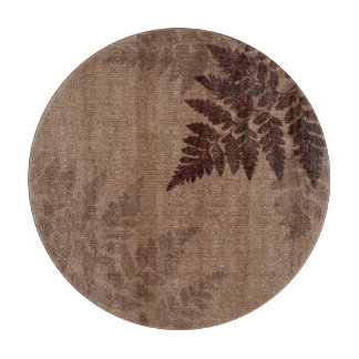 Brown Ferns against Rustic Country Burlap Cutting Board