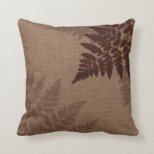 Throw Pillows Ross : Brown Ferns against Rustic Country Burlap Zazzle