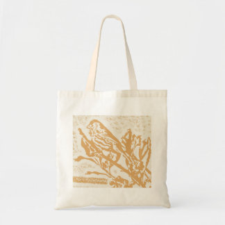Brown Finch Stamp Budget Tote Bag
