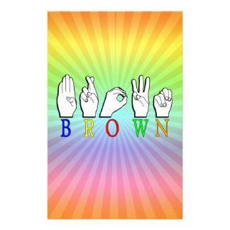 BROWN FINGERSPELLED ASL NAME SIGN STATIONERY