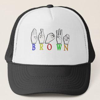 BROWN FINGERSPELLED ASL NAME SIGN TRUCKER HAT