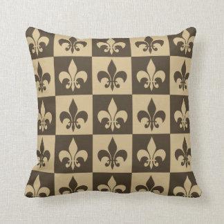 Brown Fleur de lis Cushion