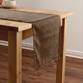 Brown Fleur-de-lis Pattern Long Table Runner