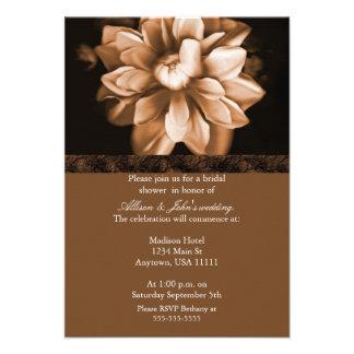 Brown Floral Bloom Bridal Shower Invitation