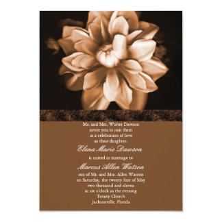 Brown Floral Bloom Wedding Invitation