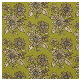 Brown Floral Bouquet Fabric