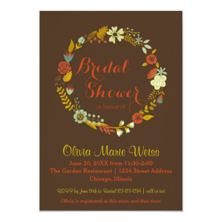 Brown Floral Circle Wreath - Bridal Shower Invite