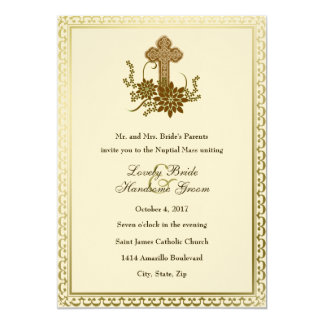Brown Floral Cross Catholic Wedding Invitation