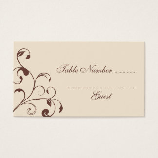 Brown Floral Curls Wedding Table Place Cards