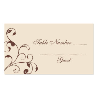 Brown Floral Curls Wedding Table Place Cards Business Cards