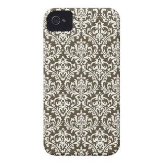 Brown Floral Damask Blackberry Case