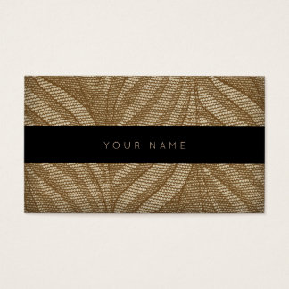 Brown Floral Ornament Gold Lace Black Vip Business Card