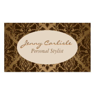 Brown Floral Ornamental Pattern Business Cards