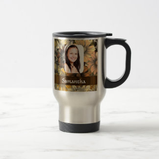 Brown floral personalized photo template stainless steel travel mug