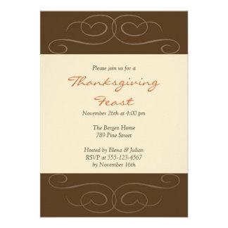 Brown florish fall custom Thanksgiving invitation