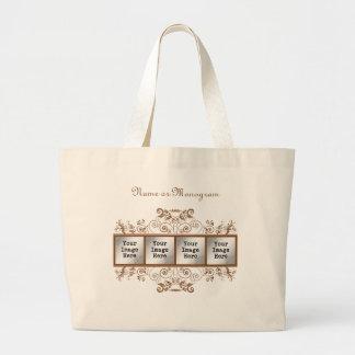 Brown Flourish 4-Photo Frame Large Tote Bag