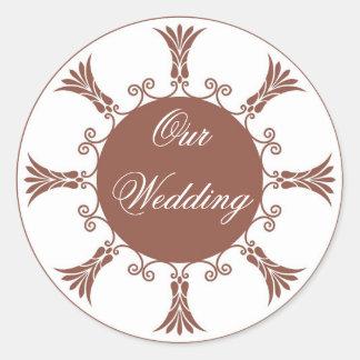 Brown Flourish Design-Our Wedding Stickers