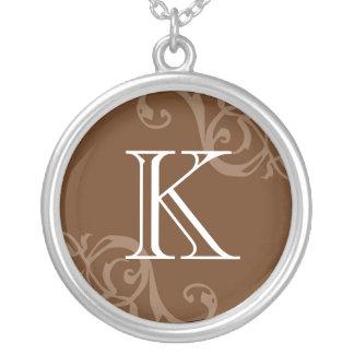Brown flourish initial monogram letter charm necklaces