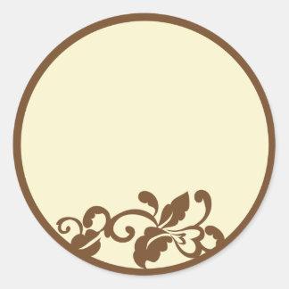 brown flourish round sticker