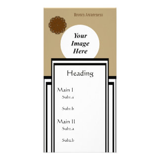 Brown Flower Ribbon Template Customized Photo Card
