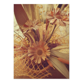 Brown flowers 17 cm x 22 cm invitation card