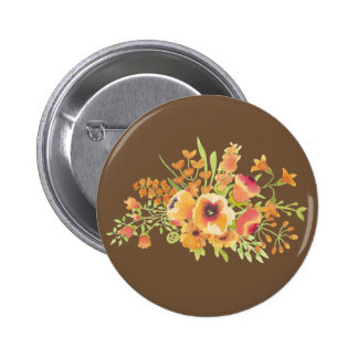 Brown Flowers Standard, 2¼ Inch Round Button