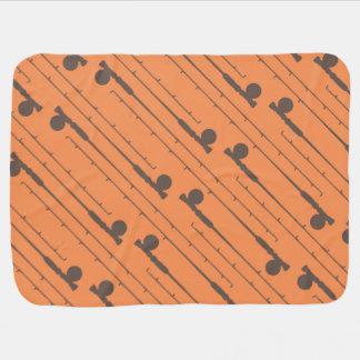 Brown Fly Fishing Rods Pattern Receiving Blanket
