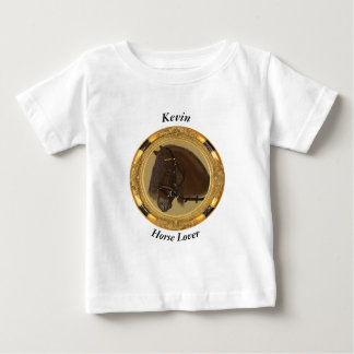 Brown Friesian Draft Horse with round Gold frame. Baby T-Shirt