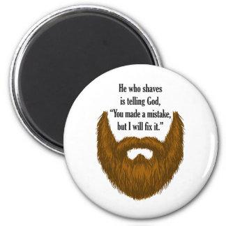 brown fuzzy beard 6 cm round magnet