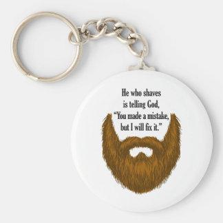 brown fuzzy beard basic round button key ring