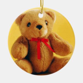 Brown fuzzy teddy bear print ornament