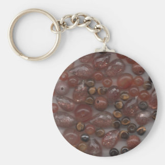 Brown Gems Basic Round Button Key Ring