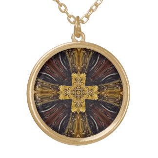 Brown Geo Golden Cross Design Gold Plated Necklace
