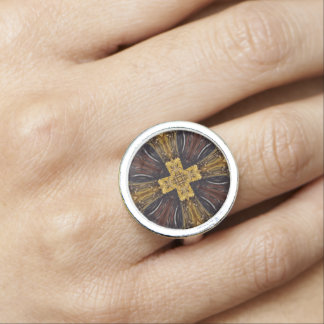 Brown Geo Golden Cross Design Ring