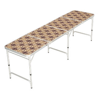 Brown Geometric Shapes Pattern Beer Pong Table