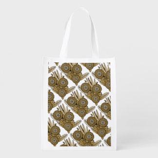 Brown Gerbera Daisy Flower Bouquet Reusable Grocery Bag