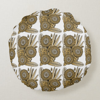 Brown Gerbera Daisy Flower Bouquet Round Cushion