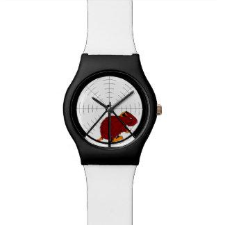 Brown Gerbil in Hamster Wheel Black & White Watch