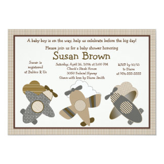 Brown Gingham Airplanes Baby Shower Invitation