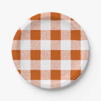 Brown gingham check paper plate