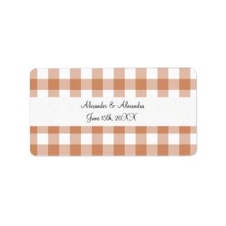 Brown gingham pattern wedding favors address label