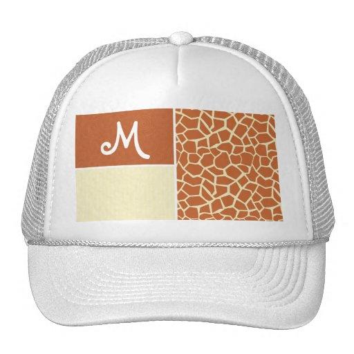 Brown Giraffe Pattern Mesh Hat